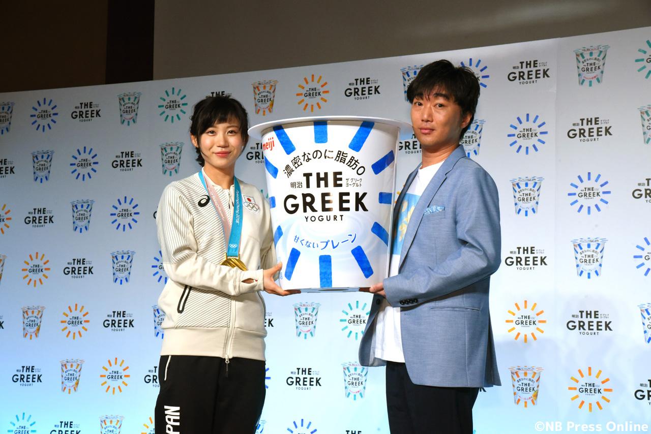高木美帆&小沢一敬「明治THE GREEK YOGURT」新商品発表会